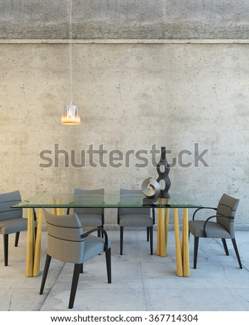 Glass Table In A Big Grey Rest Room 3d rendering