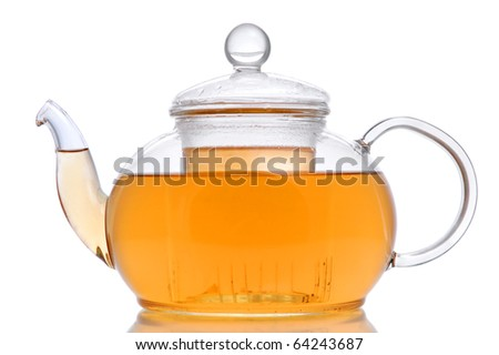 Glass teapot with green tea on white background