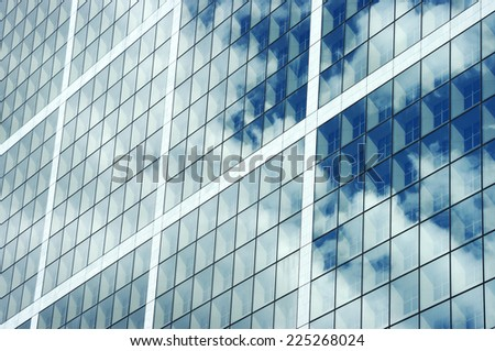 glass texture from an office building in a commercial district