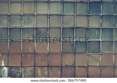Glass tile wall. Industrial texture. Vintage effect.  - stock photo
