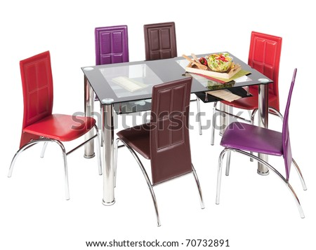 Glass top dining table and chairs - isolated - stock photo