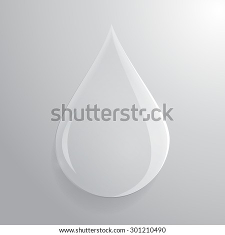 Glass transparent drop over grey background. Raster.