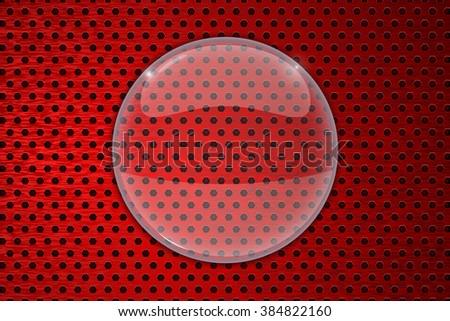 Glass transparent frame.   illustration on red metal background. Raster version - stock photo