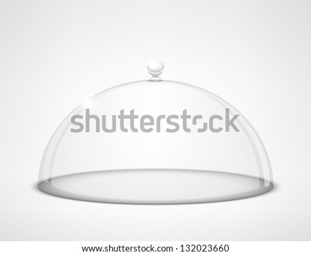 Glass transparent half-sphere lid with handle on white background - stock photo