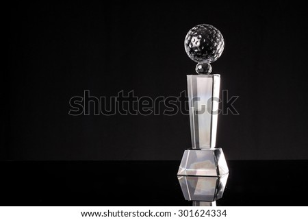 glass trophy in black background - stock photo
