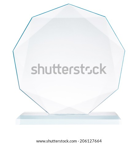 Glass trophy, isolated on white,  file includes a excellent clipping path - stock photo