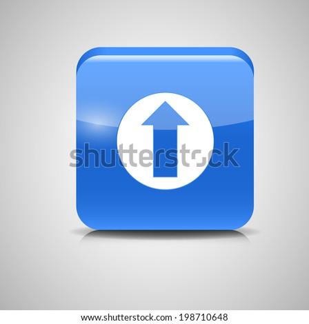 Glass Upload Button Icon  Illustration. - stock photo