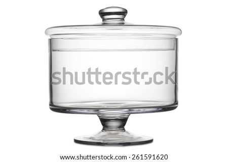 glass vase for cookies with cover, on white background - stock photo