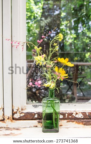 Glass vase with beautiful flowers
