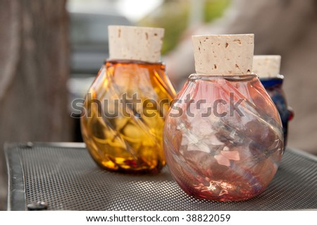 Glass vases at the Boise Saturday Market - stock photo