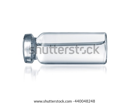 Glass vial medical close-up isolated on a white  - stock photo