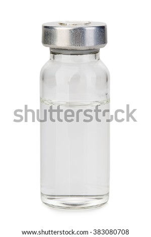 Glass vial medical close-up isolated on a white background.