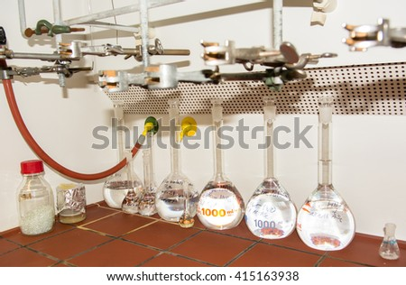 Glass Vials in Chemical Laboratory - stock photo