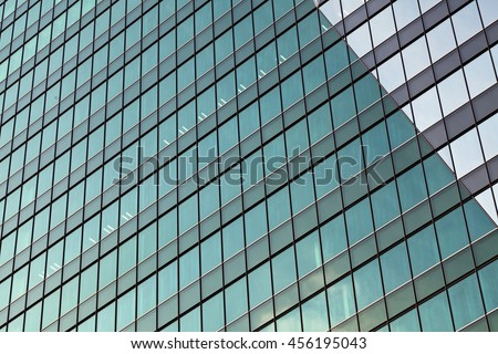glass wall background, futuristic architecture, office building facade