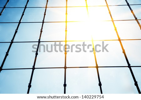 Glass wall of business center - stock photo