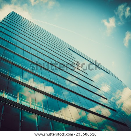 glass wall of skyscraper.  Buildings abstract - stock photo