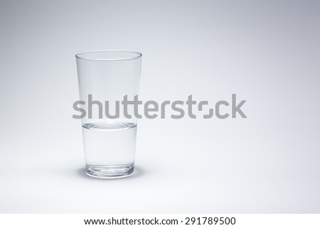glass water drinking isolated on white background