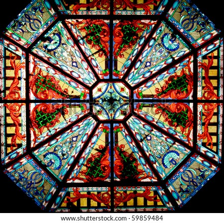 Glass window in church - stock photo