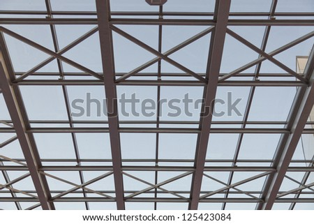 glass window with ceiling - stock photo