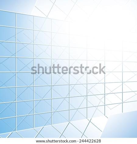 glass windows on blue facade - stock photo