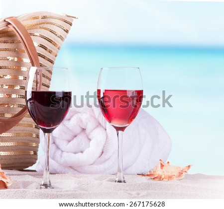 Glass wine and summer accessories, Summer concept - stock photo