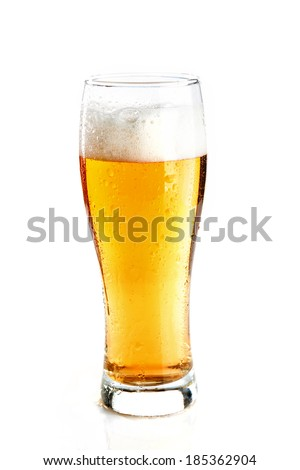 glass with beer and droplets isolated
