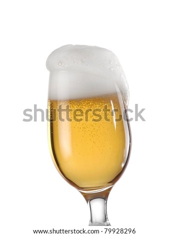 Glass with beer and foam