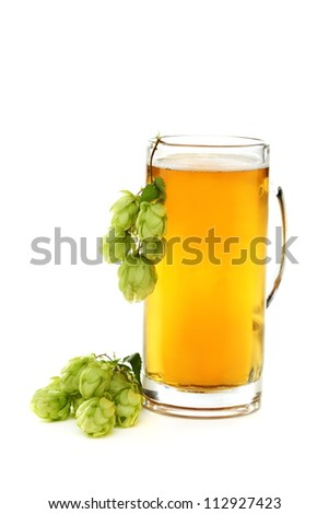 Glass with beer and hop cones on a white background.