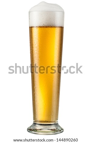 Glass with beer isolated on white. With clipping path - stock photo