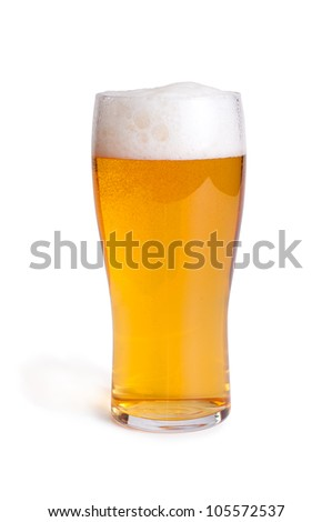 glass with beer on white - clipping path included