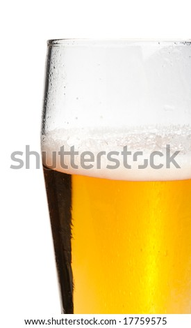 Glass with beer, side shot, isolated - stock photo