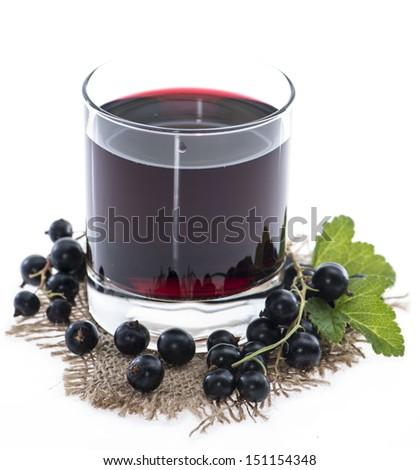 Glass with Black Currant juice isolated on white - stock photo