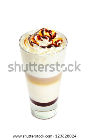 Glass with classic latte coffee cocktail  isolated on white - stock photo