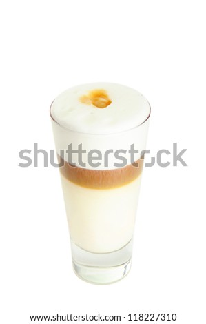 Glass with classic latte coffee cocktail with isolated on white - stock photo