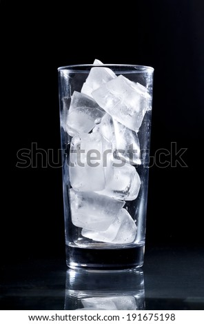 Glass with ice - stock photo