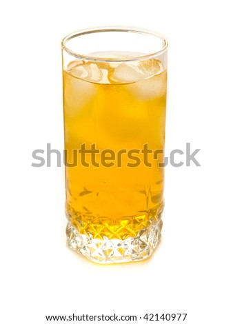 Glass with ice and apple juice, isolated over white background.