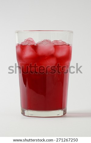 glass with ice and cherry juice