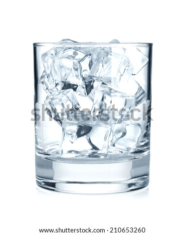 Glass with ice cubes. Isolated on white background - stock photo