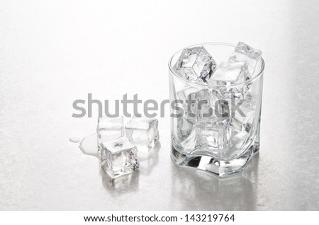 Glass with ice on the bar counter