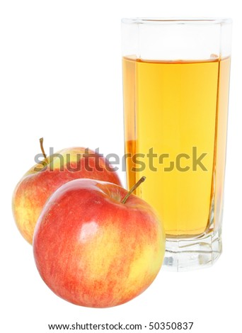 Glass with juice and apples on a white background.