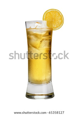 glass with juice and lemon
