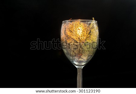 Glass with leaves