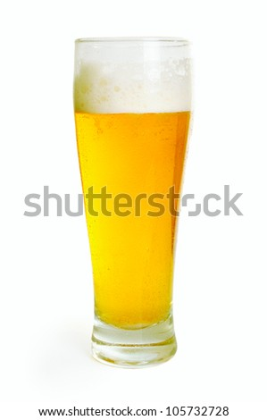 Glass with light beer isolated on the white