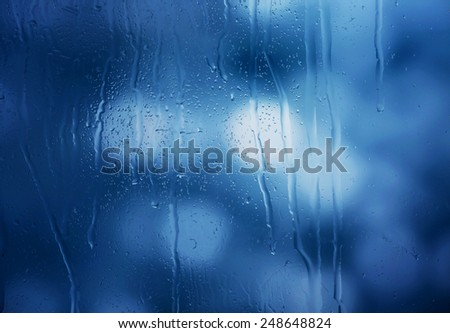 Glass with natural water drops - stock photo