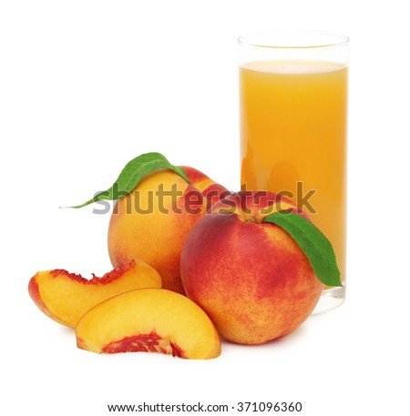 Glass with nectarine juice and ripe nectarines isolated on white background - stock photo