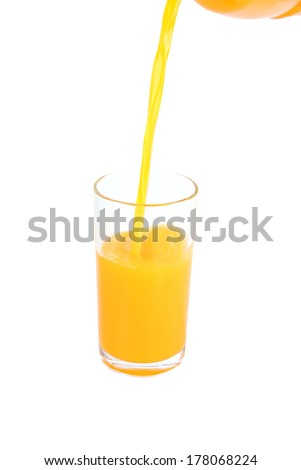 Glass with oranges juice isolated on white background.