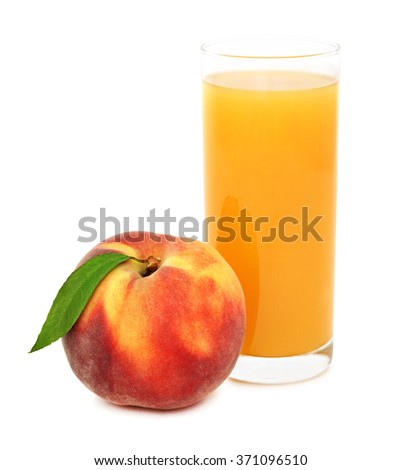 Glass with peach juice isolated on white background - stock photo