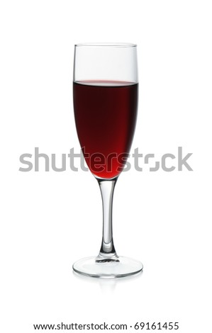 glass with red vine isolated on a white background