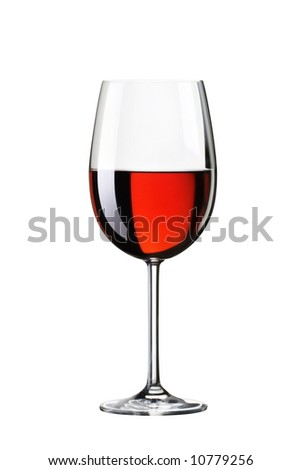 Glass with red wine. Isolated on white background with path - stock photo