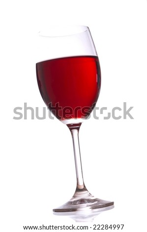 Glass with red wine on white background
